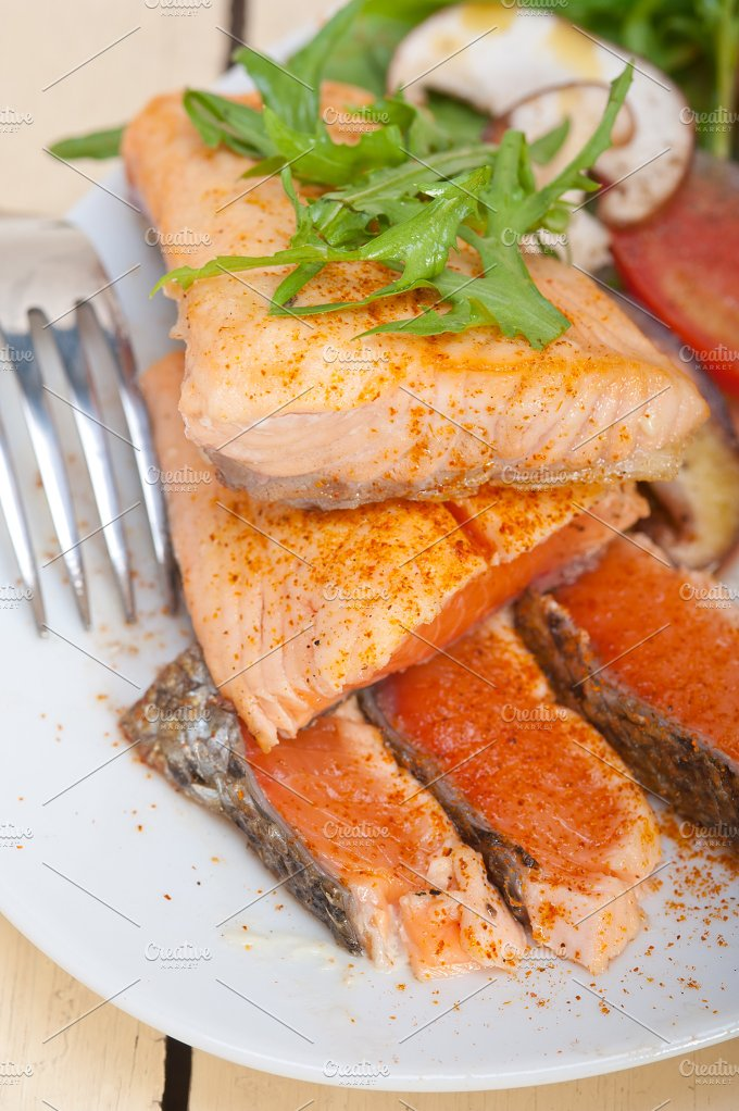 grilled salmon filet with vegetables 008.jpg - Food & Drink