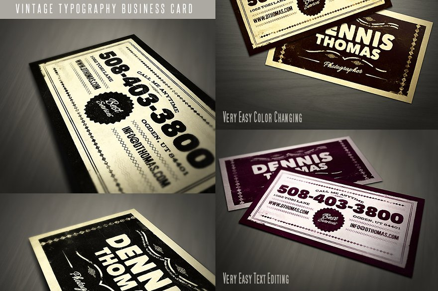 Retro business card template business card templates creative retro business card template 04 friedricerecipe Image collections