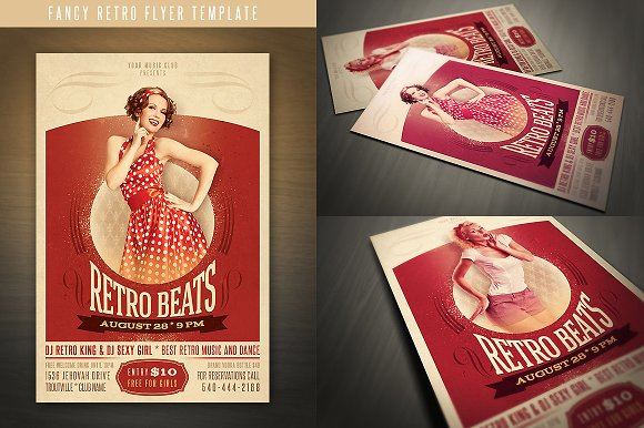 fancy retro flyer flyer templates creative market