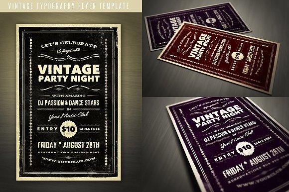 Vintage Typography Flyer Flyer Templates on Creative Market – Typography Flyer