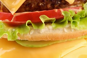 Tasty Double Cheeseburger closeup