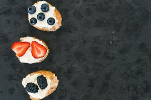 Sandwiches with cheese & berries