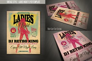 Vintage Style Ladies Night Flyer