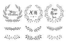 Set of Christmas design elements.