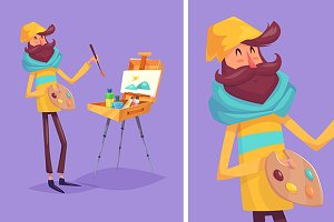 Funny  illustration of artist