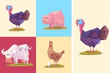 Cute farm animals and pets