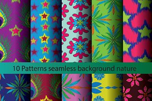 Ten patterns background texture