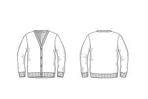 Men's Cardigan Fashion Flat Template
