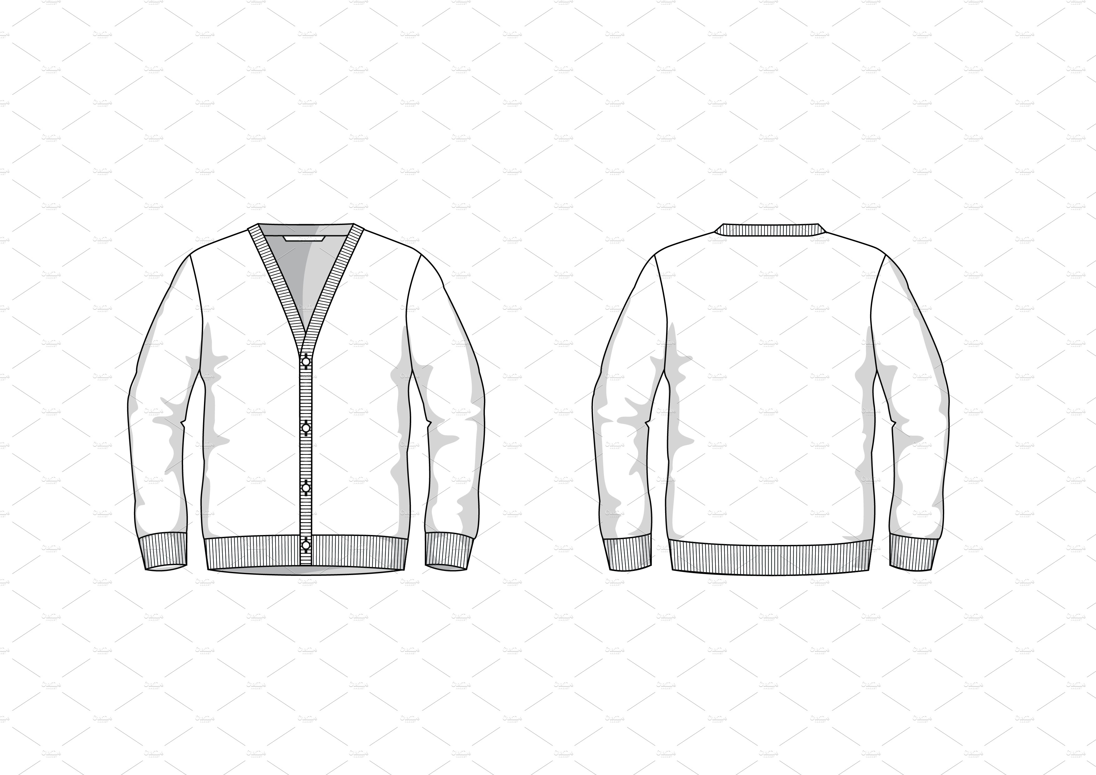 Men's Cardigan Fashion Flat Template ~ Templates