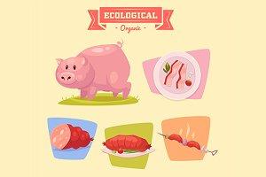 Farm animals. Cute pig.