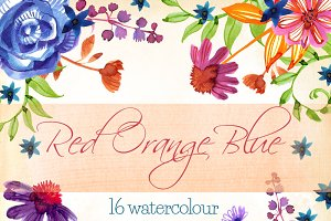 Red Orange Blue - 16 cliparts set