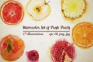 Watercolor Set of Fresh Fruits