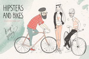 Hipster girl and man with retro bike