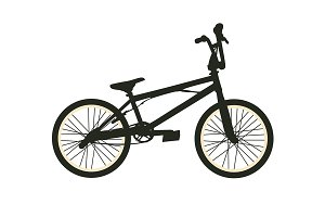 BMX Bike. Black Silhouette on White