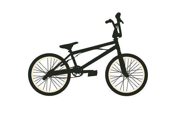 BMX Bike. Black Silhouette on White - Illustrations