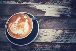 Cup of art latte or cappuccino