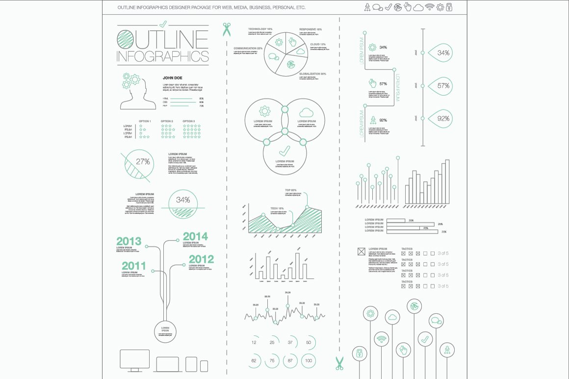 Outline Vector Infographics ~ Illustrations ~ Creative Market