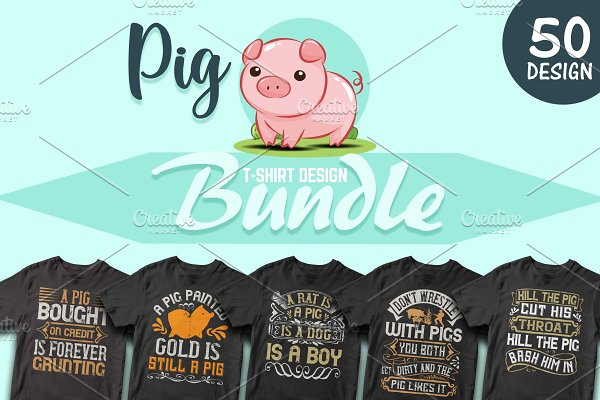50 Editable Pig T shirt Design