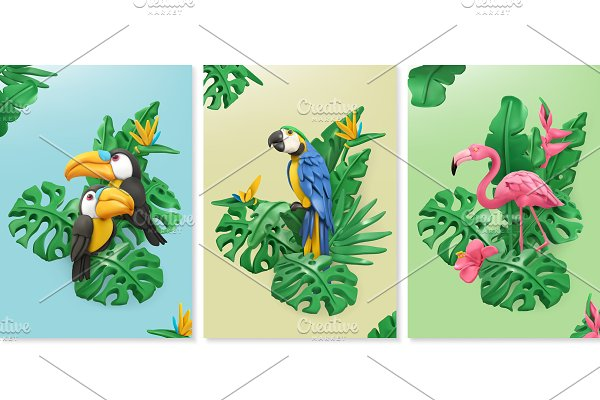 Exotic birds, vector tropical leaves