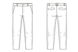 Men's Trousers Fashion Flat Template