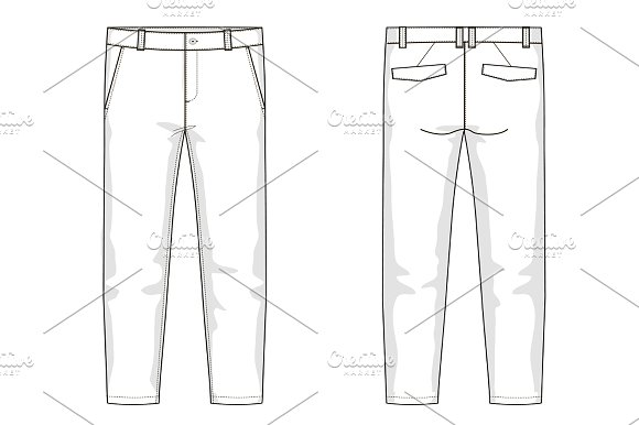 Mens Trousers Fashion Flat Template