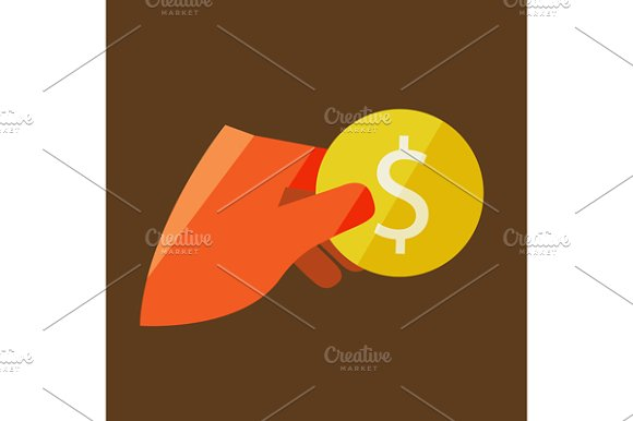 Hand Holding A Coin in Illustrations - product preview 1