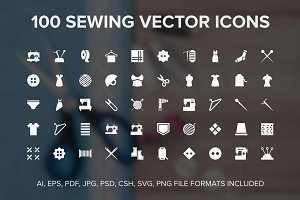 100 Sewing Vector Icons