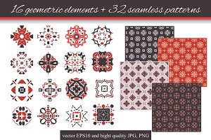 16 geometric elements + 32 patterns
