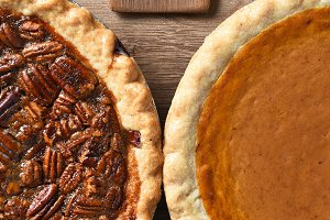 Half Pecan and Pumpkin Pies
