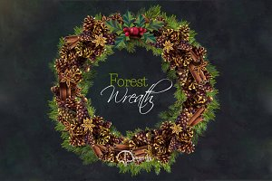 Christma Wreath Clip Art - Forest