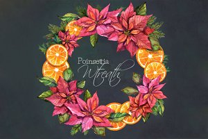 Christmas Wreath- Poinsettia