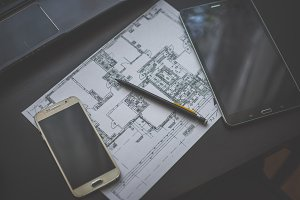 Technical drawing, smartphone tablet