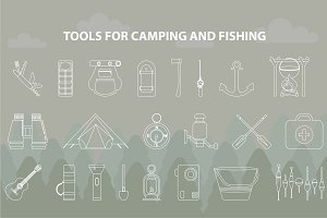 Big set for fishing and camping.