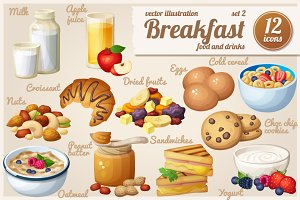 Breakfast: Cartoon vector food icons