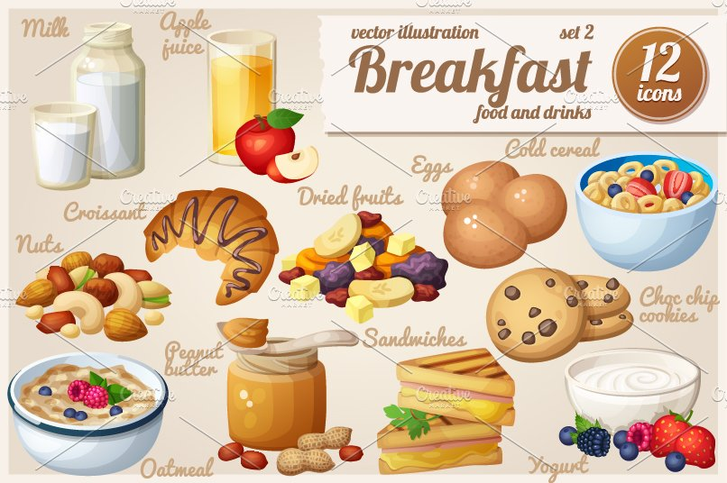 Breakfast Cartoon Vector Food Icons Graphic Objects