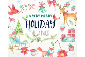 Watercolor Christmas Holiday Clipart