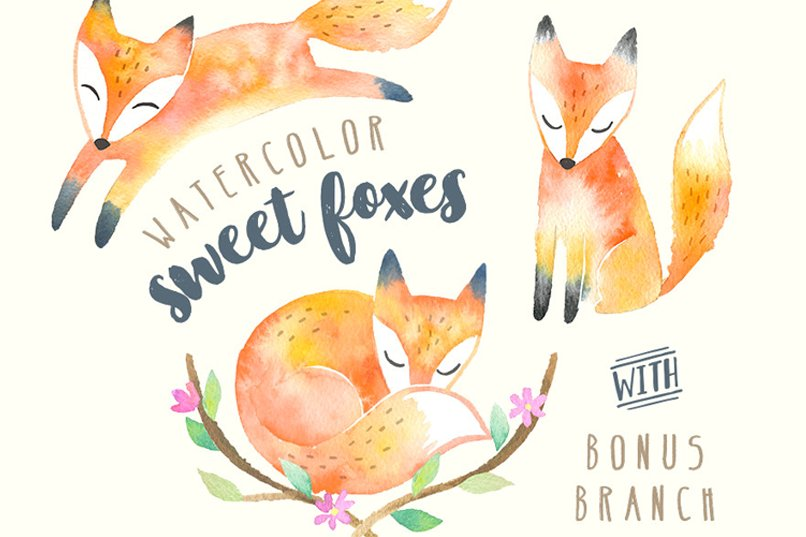 Sweet Foxes Watercolor Set ~ Illustrations ~ Creative Market