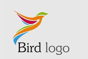 Colorful Humming Bird Logo Template