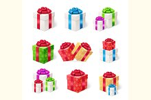 Present Boxes Set. Vector