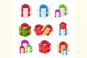 Present Boxes Set. Vector