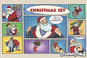 Christmas set Retro Santa