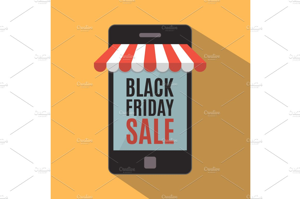 Black friday mobile store concept illustrations creative market - Black friday mobel ...