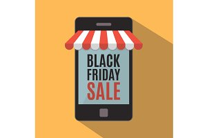 Black Friday. Mobile store concept.