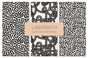 Labyrinth. Seamless Patterns Set
