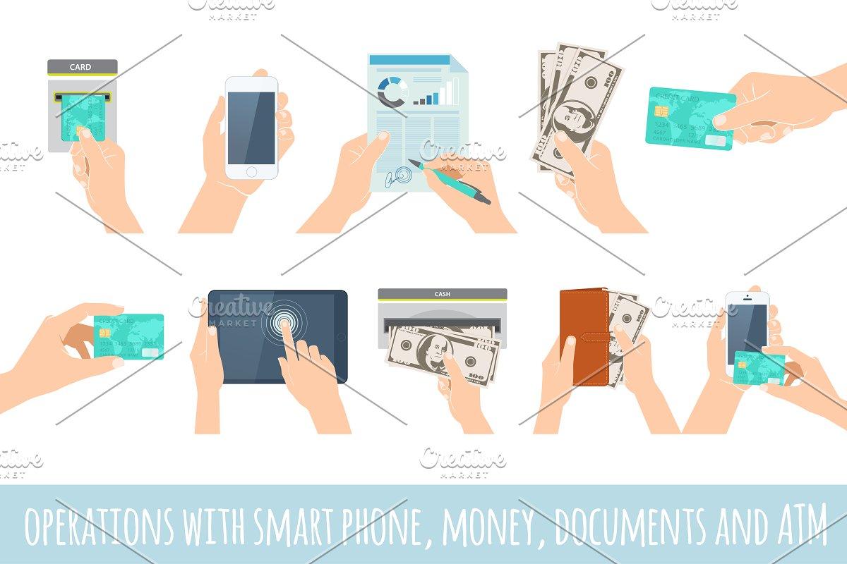 Hands holding smart phone & money