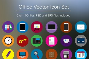 Flat Office Icon Pack - PSD & Vector