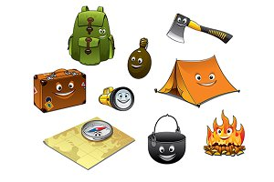Cartoon camping and travel icons set