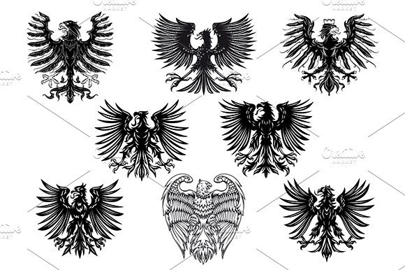 Heraldic royal medieval eagles