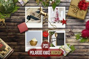 Polaroid Xmas mockup PSD
