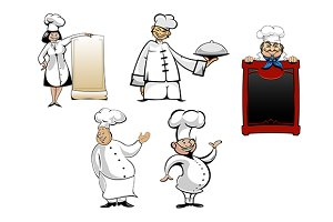 Cartoon chefs and  cooks set